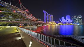 Beautiful landscape of Marina Bay Sands Singapore. Singapore - November 27, 2017: Beautiful landscape of Marina Bay Sands Singapore from Helix Bridge Royalty Free Stock Image