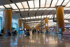 Singapore - November 19, 2017: Changi internationell flygplats Ter Arkivfoton