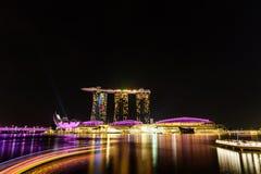 SINGAPORE - NOVEMBER 22, 2016: Marina Bay Sands Resort Hotel på N Arkivbilder