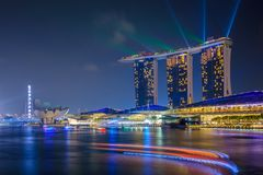 SINGAPORE - November 13: Marina Bay Sands Resort at night on November 13, 2015 in Singapore Stock Photo