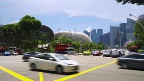 Esplanade road interchange in Singapore stock footage
