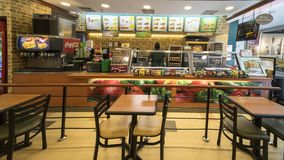 Subway fast food restaurant in Singapore. Singapore. November 06, 2017: A subway fast food restaurant in Singapore Changi Airport Royalty Free Stock Photography