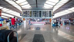 Departures board in Changi airport Singapore stock video footage