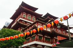 Singapore - 14 OCT 2018. The Buddha Tooth Relic temple and museum during cloudy and rainy day in Chinatown district stock photography