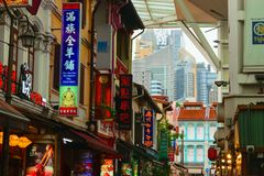 Singapore - 14 OCT 2018. Chinatown district with a lot of colorful cafeterias and restaurants signboards stock image