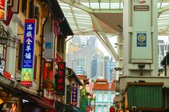 Singapore - 14 OCT 2018. Chinatown district with a lot of colorful cafeterias and restaurants signboards stock photo