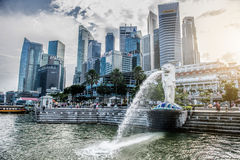 SINGAPORE-OCT 28: The Merlion fountain and Marina Bay Sand Stock Images