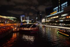 SINGAPORE - OCT 7, 2017: night scape and street view at clarke quay in Singapore royalty free stock photography