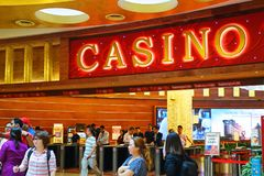 SINGAPORE - 14 October 2018: Entrance of RWS Casino on the island of Sentosa. Resorts World Sentosa is an integrated resort on the. A SINGAPORE - 14 October 2018 stock image