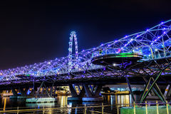 SINGAPORE - 29 October: the Helix bridge on October 29, 2014 in Royalty Free Stock Images