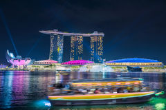 SINGAPORE - October 23, 2016 : Light show in Marina Bay Sand., S Royalty Free Stock Photo