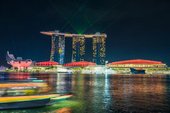 SINGAPORE - 23 oktober, 2016: Licht toon in Marina Bay Sand , S Royalty-vrije Stock Foto