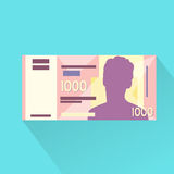 Singapore One Thousand Dollar Banknote Flat Design Stock Photography