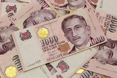 Singapore One Thousand Dollars Currency Notes Background Stock Photo