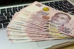Singapore One Thousand Dollars Currency Notes on Computer Royalty Free Stock Images