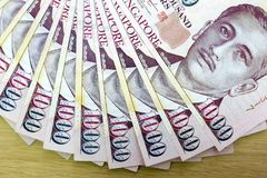 Singapore One Thousand Dollars Currency Notes Fanned Out Royalty Free Stock Photography