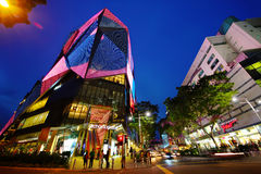 Singapore Orchard Road. Malls along Singapore's famous shopping street, Orchard road. One the left is Orchard Central, the tallest vertical mall in the country