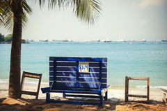 Singapore - 18 ottobre 2014: La spiaggia di Siloso è Singapore più hippest è Fotografia Stock