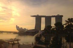 Singapore på soluppgång Arkivbilder