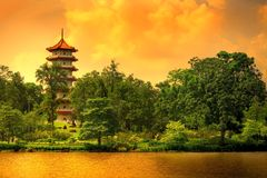 Singapore pagoda. Pagoda of the Chinese gardens in Singapore royalty free stock image