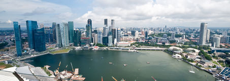 Singapore Panorama. A panoramic image of Singapore's skyline stock image