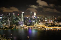 Singapore panorama at night. Royalty Free Stock Photos