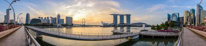 Singapore panorama. Panorama view of Singapore city skyline when sunrise at Marina Bay and Merlion Park, Singapore Royalty Free Stock Photo