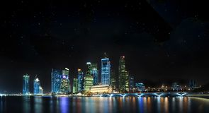 Singapore Panoramic with stars Stock Photography