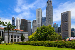 Singapore Park. With Tall Buildings Stock Photography