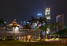 Singapore parliament building illuminated at night Stock Photography