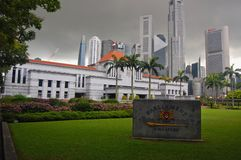 Singapore Parliament Buildings on a stormy cloudy day looking at the skyscrapers and downtown.` stock photography