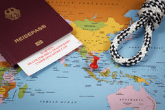 Singapore, passport, hangmans knot and immigration card with death penalty warning for drug traffickers. Singapore map, passport, hangmans knot and immigration Royalty Free Stock Photo