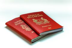 Singapore passport is ranked the most powerful passport in the world with visa-free or visa on arrival access to 189 countries stock image