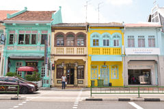 Singapore Peranakan district. Singapore is not all about modern city, skyscrapers and corporate offices. Just few bus stops away, there are traditional old Stock Image
