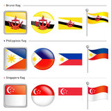 Singapore and Philippines, Brunei Flag Icon Stock Image