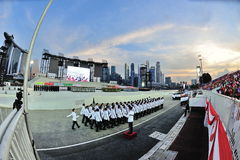 Singapore Police Force guard-of-honor contingent marching past during National Day Parade (NDP) Rehearsal 2013 Stock Photo