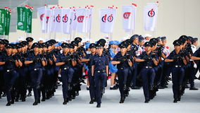 Singapore Police Force marching during National Day Parade (NDP) Rehearsal 2013 Royalty Free Stock Photography