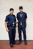 Singapore Police. Police on patrol in the Little India neighbourhood of Singapore. Singapore's crime rate hit a 30 year low in 2013 with total crime cases Stock Image