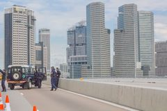 Singapore Police Roadblock Stock Photos