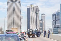 Singapore Police Roadblock. Singapore Police blocked, closed the ECP to traffic due to SEA Games stock images