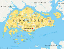 Singapore Political Map Stock Photography