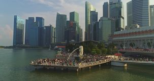 Singapore pond with tourists stock video