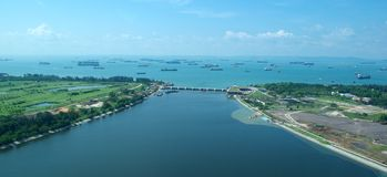 Singapore Port from the Air Royalty Free Stock Photo