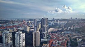 Singapore port city. Aerial view of Tiong Bahru from Pinnacle @ Duxton building at Tanjong Pagar in Singapore Stock Photo