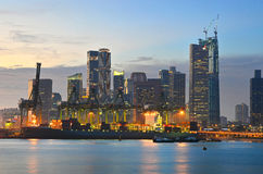 Singapore Port and Financial District Stock Photos