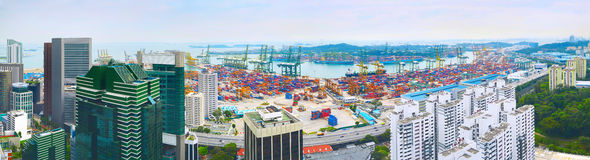 Singapore port panorama Royalty Free Stock Photo