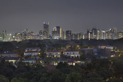 Singapore Private Homes with Skyline Background Royalty Free Stock Photos