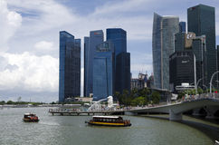 Singapore promanade with Merlion Royalty Free Stock Images