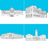 Singapore Public Landmark Vector Sketches Royalty Free Stock Photo