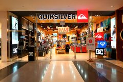 Singapore: Quicksilver retail boutique outlet. 1 of the many quicksilver store in Singapore. This store is found at shopping mall bugis plus Royalty Free Stock Image